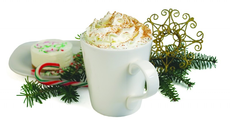 EggNog Latte- Made with fresh ground, locally roasted espresso, and rich, creamy EggNog.  Topped with whipped cream and sprinkled with nutmeg. Take out, or enjoy in our cozy, 18 seat coffee shop.  Available November 1st- December 31st.